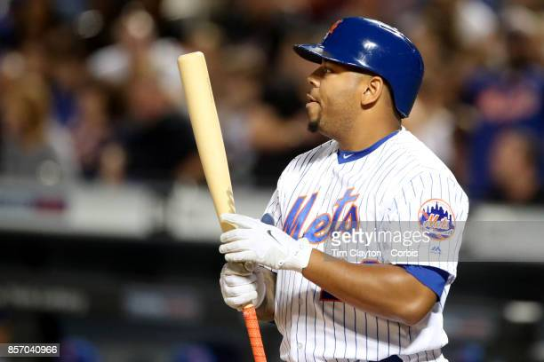Dominic Smith of the New York Mets batting during the Washington Nationals Vs New York Mets MLB regular season game at Citi Field Flushing Queens on...