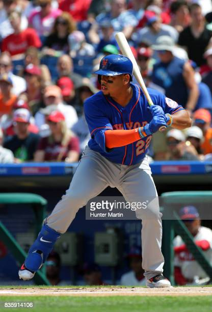 Dominic Smith of the New York Mets during a game against the Philadelphia Phillies at Citizens Bank Park on August 13 2017 in Philadelphia...
