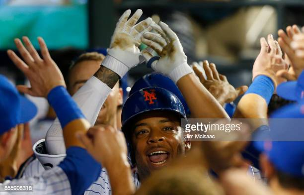 Dominic Smith of the New York Mets in action against the Atlanta Braves at Citi Field on September 27 2017 in the Flushing neighborhood of the Queens...