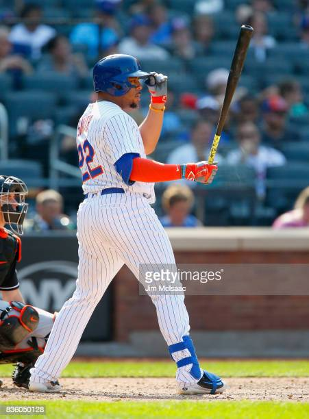 Dominic Smith of the New York Mets in action against the Miami Marlins at Citi Field on August 20 2017 in the Flushing neighborhood of the Queens...