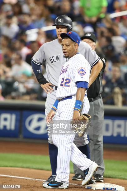 Dominic Smith of the New York Mets playing at first base with Aaron Judge of the New York Yankees on first during the New York Yankees Vs New York...