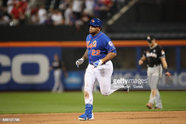 Dominic Smith of the New York Mets runs the bases after hitting his first home run at Citi Filed during the Miami Marlins Vs New York Mets regular...