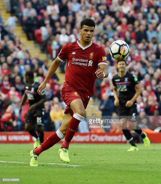 Dominic Solake of Liverpool during the Premier League match between Liverpool and Crystal Palace at Anfield on August 19 2017 in Liverpool England