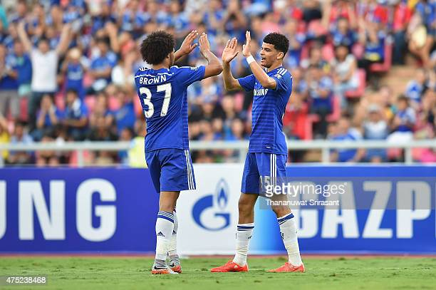 Dominic Solanke and team mate Isaiah Brown of Chelsea FC celebrate during the international friendly match between Thailand AllStars and Chelsea FC...