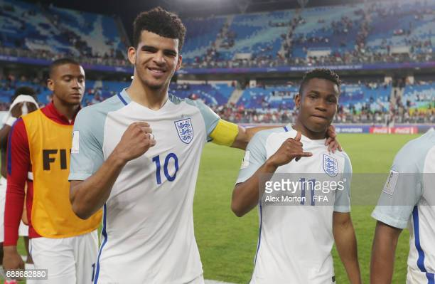 Dominic Solanke and Ademola Lookman of England celebrate at the final whistle during the FIFA U20 World Cup Korea Republic 2017 group A match between...