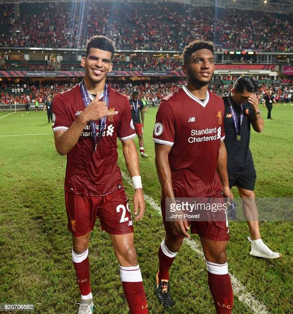 Dominic Solanke and Joe Gomez of Liverpool at the end of the Premier League Asia Trophy match between Liverpool FC and Leicester City FC at the Hong...