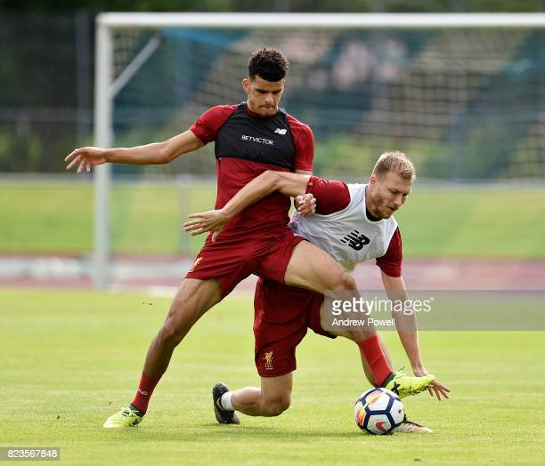 Dominic Solanke and Ragnar Klavan of Liverpool during a training session at RottachEgern on July 27 2017 in Munich Germany