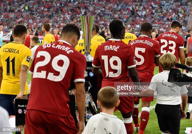Dominic Solanke and Sadio Mane of Liveprool before the Audi Cup 2017 match between Liverpool FC and Atletico Madrid at Allianz Arena on August 2 2017...