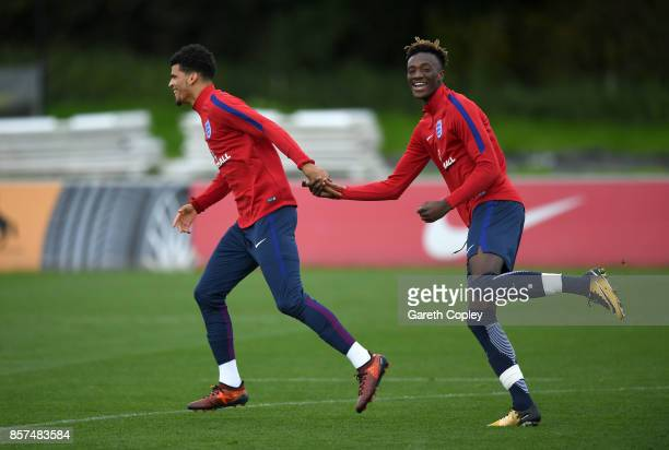 Dominic Solanke and Tammy Abraham of England at St Georges Park on October 4 2017 in BurtonuponTrent England