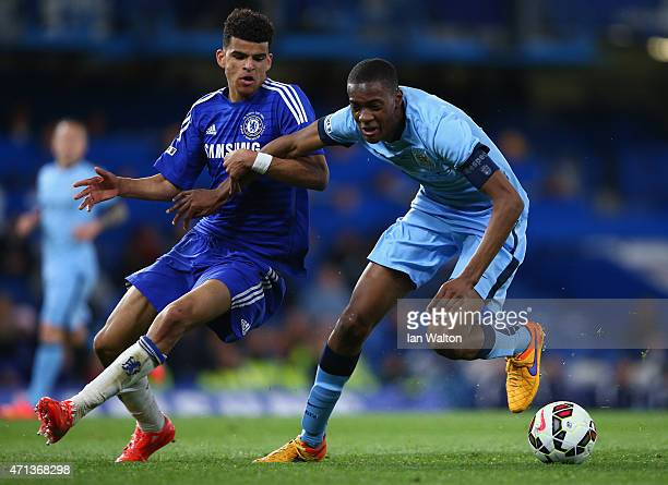 Dominic Solanke of Chelsea and Tosin Adarabioyo of Manchester City during the FA Youth Cup Fina Second Leg match between Chelsea and Manchester City...