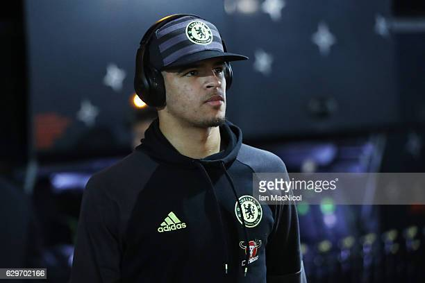 Dominic Solanke of Chelsea arrives at the stadiium prior to kick off during the Premier League match between Sunderland and Chelsea at Stadium of...