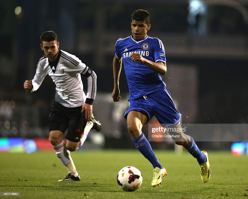 Dominic Solanke of Chelsea attacks during the FA Youth Cup Final: First Leg match between Fulham and Chelsea at Craven Cottage on April 28, 2014 in London, England.