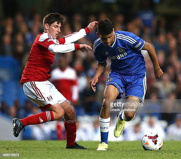 Dominic Solanke of Chelsea attacks past Emerson Hyndman of Fulham during the FA Youth Cup Final Second Leg match between Chelsea and Fulham at...