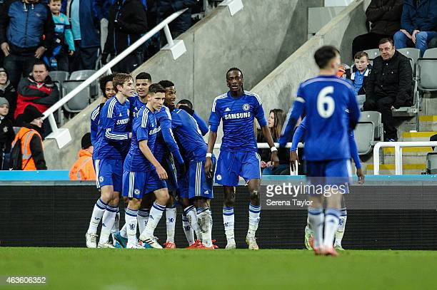 Dominic Solanke of Chelsea celebrates with teammates after scoring the second goal during the U21 FA Youth Cup Sixth Round match between Newcastle...