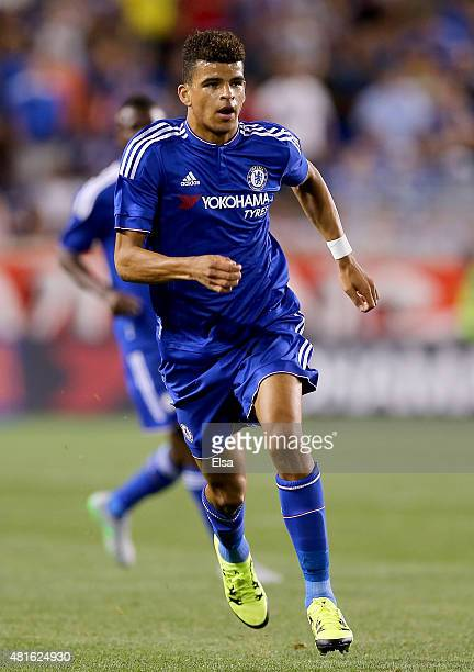 Dominic Solanke of Chelsea defends against the New York Red Bulls during the International Champions Cup at Red Bull Arena on July 22 2015 in...