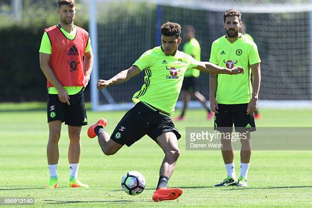 Dominic Solanke of Chelsea during a training session at Chelsea Training Ground on August 26 2016 in Cobham England