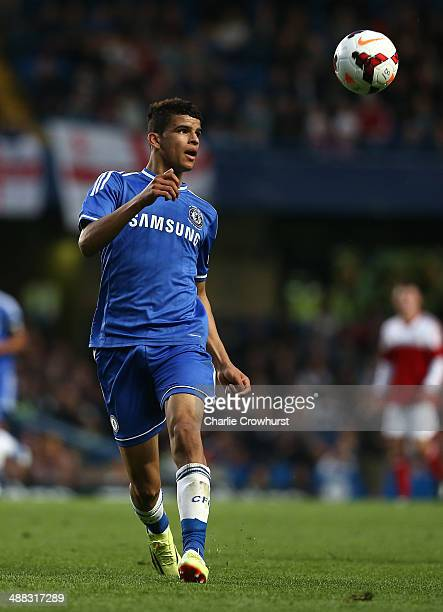 Dominic Solanke of Chelsea during the FA Youth Cup Final Second Leg match between Chelsea v Fulahm at Stamford Bridge on May 05 2014 in London England