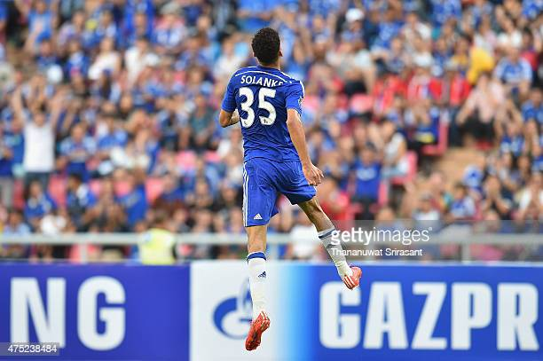 Dominic Solanke of Chelsea FC celebrates during the international friendly match between Thailand AllStars and Chelsea FC at Rajamangala Stadium on...