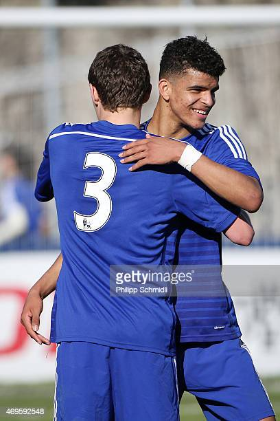 Dominic Solanke of Chelsea FC embraces his teammate Andreas Christensen after winning the UEFA Youth League Final match between Shakhtar Donetsk and...