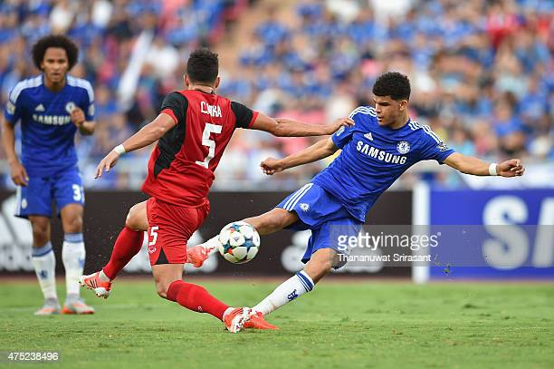 Dominic Solanke of Chelsea FC kick the ball during the international friendly match between Thailand AllStars and Chelsea FC at Rajamangala Stadium...