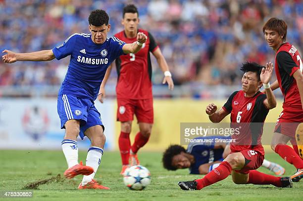 Dominic Solanke of Chelsea FC kicks the ball pass Yuthajak Konjan of Thailand AllStars during the international friendly match between Thailand...