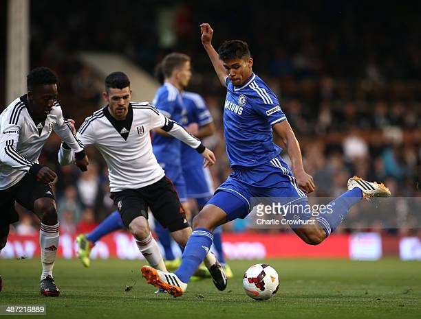 Dominic Solanke of Chelsea has a shot during the FA Youth Cup Final First Leg match between Fulham and Chelsea at Craven Cottage on April 28 2014 in...