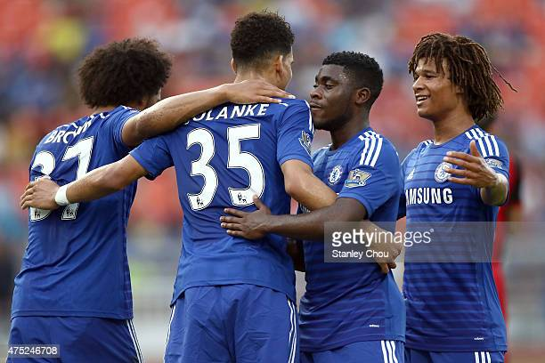Dominic Solanke of Chelsea is congratulated by teammates after scoring against Thailand AllStars during the international friendly match between...