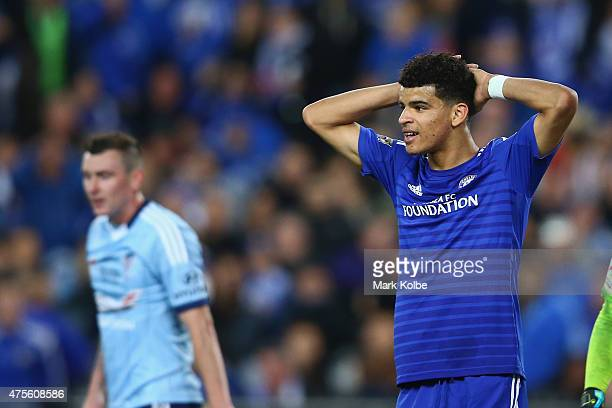Dominic Solanke of Chelsea reacts after a missed chance during the international friendly match between Sydney FC and Chelsea FC at ANZ Stadium on...