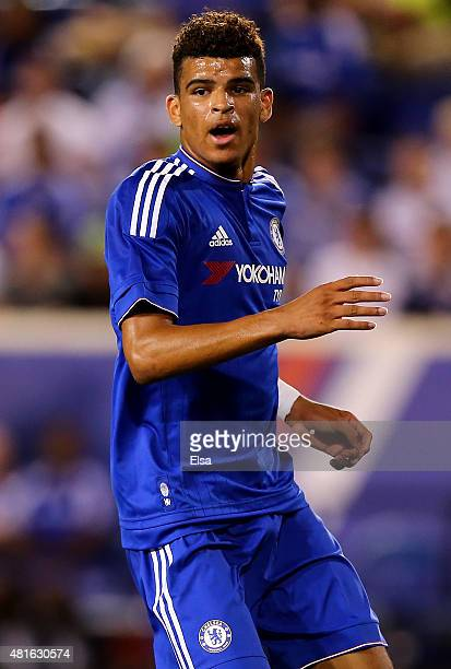 Dominic Solanke of Chelsea reacts after a missed shot in the second half against the New York Red Bulls during the International Champions Cup at Red...