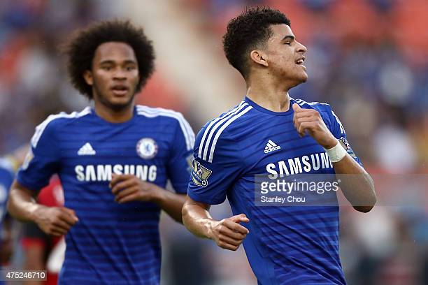 Dominic Solanke of Chelsea reacts after scoring against Thailand AllStars during the international friendly match between Thailand AllStars and...