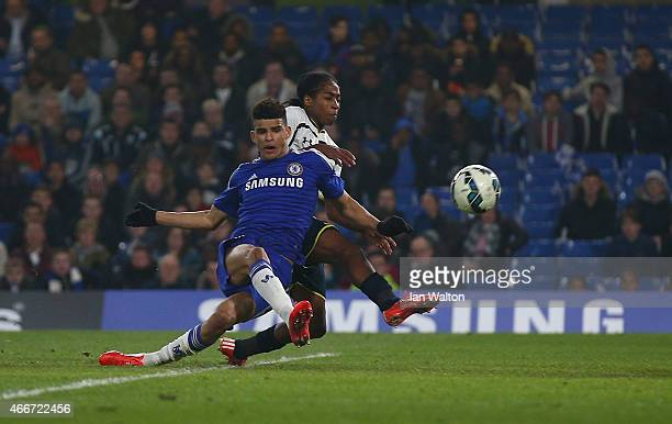 Dominic Solanke of Chelsea scores a goal during the FA Youth Cup Semi Final Second Leg match between Chelsea v Tottenham Hotspur at Stamford Bridge...