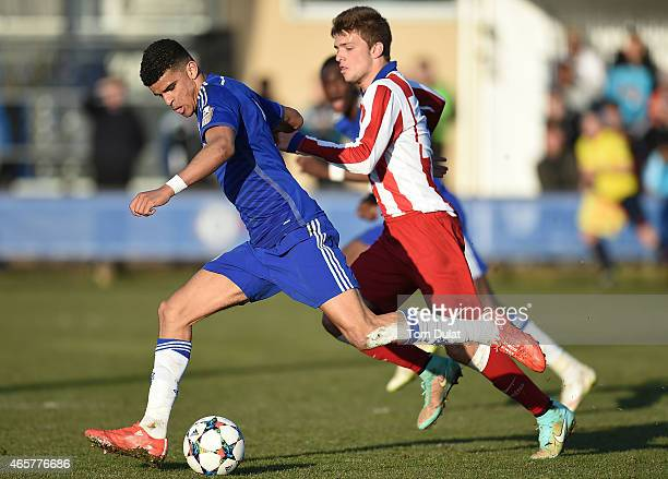 Dominic Solanke of Chelsea scores a goal during the UEFA Youth League Quarter Final match between Chelsea and Atletico Madrid at Chelsea Training...