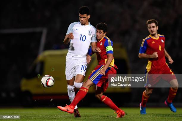 Dominic Solanke of England and Aleix Viladot of Andorra during the UEFA European Under 21 Championship Qualifier between Andorra U21 and England U21...