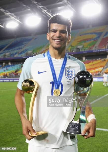 Dominic Solanke of England celebrates victory with the Golden Ball Award and World Cup tropy after the FIFA U20 World Cup Korea Republic 2017 Final...