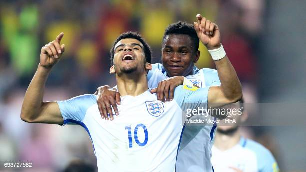 Dominic Solanke of England celebrates with Ademola Lookman after scoring his teams third goal during the FIFA U20 World Cup Korea Republic 2017 Semi...