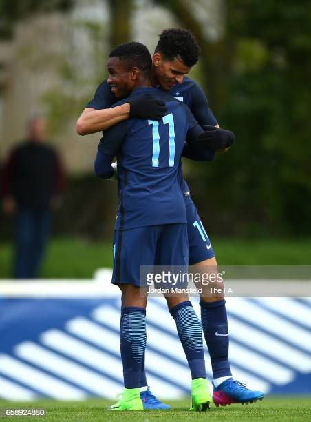 Dominic Solanke of England celebrates with Ademola Lookman of England after scoring his sides second goal during the UEFA U20 International Friendly...