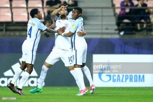 Dominic Solanke of England celebrates with Kyle WalkerPeters and Harry Chapman after scoring a goalduring the FIFA U20 World Cup Korea Republic 2017...