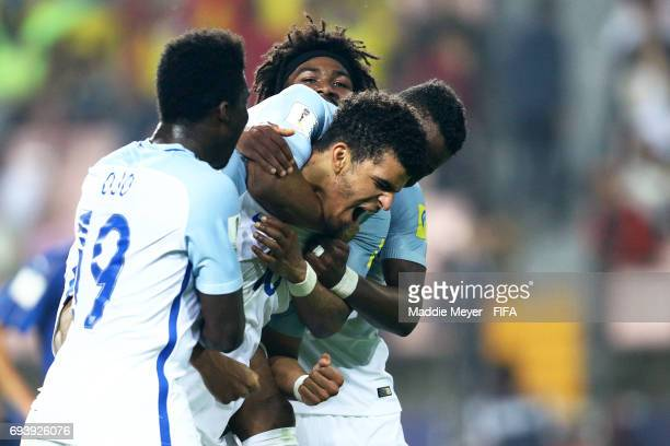 Dominic Solanke of England celebrates with Sheyi Ojo after scoring his teams third goal during the FIFA U20 World Cup Korea Republic 2017 Semi Final...