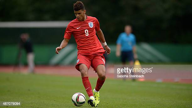 Dominic Solanke of England controls the ball during the U19 international friendly match between Germany and England on September 4 2015 in Bergisch...