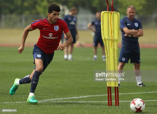 Dominic Solanke of England during an England U21 FIFA World Cup training session at the Jeonju World Cup Stadium Auxiliary Field on May 30 2017 in...