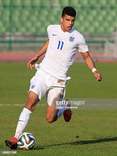 Dominic Solanke of England in action during the European Under 21 Qualifier match between Bosnia and Herzegovina U21 and England U21at Stadium Asim...