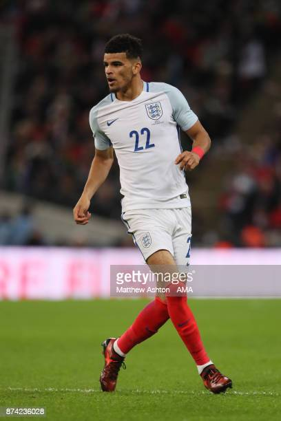 Dominic Solanke of England in action during the international friendly match between England and Brazil at Wembley Stadium on November 14 2017 in...