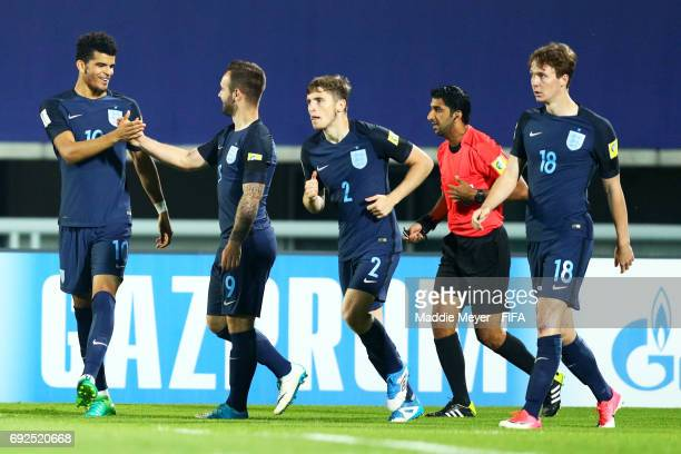 Dominic Solanke of England left celebrates with Adam Armstrong after scoring a goal during the FIFA U20 World Cup Korea Republic 2017 Quarter Final...