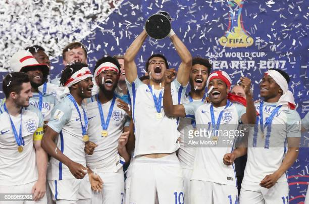 Dominic Solanke of England lifts the trophy during the FIFA U20 World Cup Korea Republic 2017 Final match between Venezuela and England at Suwon...