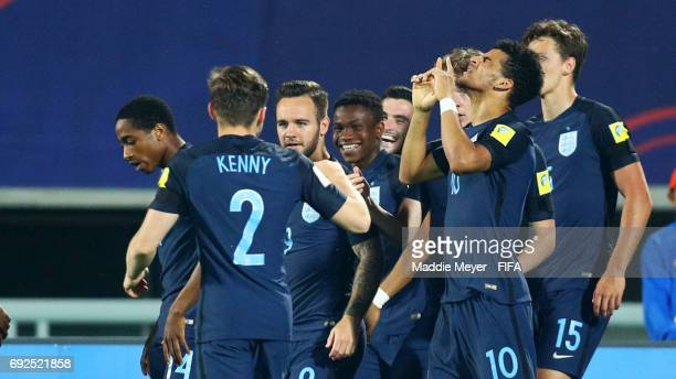 Dominic Solanke of England right celebrates with teammates after scoring a goal during the FIFA U20 World Cup Korea Republic 2017 Quarter Final match...
