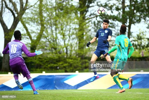 Dominic Solanke of England scores his sides second goal during the UEFA U20 International Friendly match between England and Senegal at Stade...