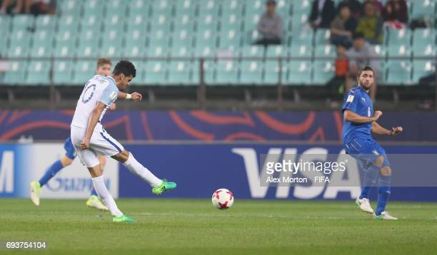 Dominic Solanke of England scores their third goal during the FIFA U20 World Cup Korea Republic 2017 Semi Final match between Italy and England at...