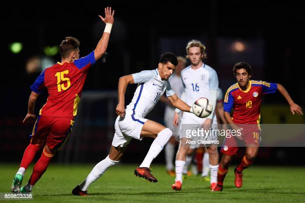Dominic Solanke of England takes on Albert Alavedra of Andorra during the UEFA European Under 21 Championship Qualifier between Andorra U21 and...