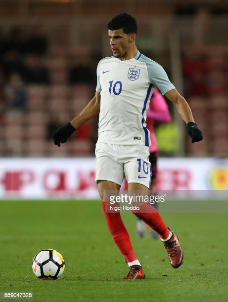 Dominic Solanke of England U21 during the UEFA European Under 21 Championship Group 4 Qualifier between England and Scotland at Riverside Stadium on...