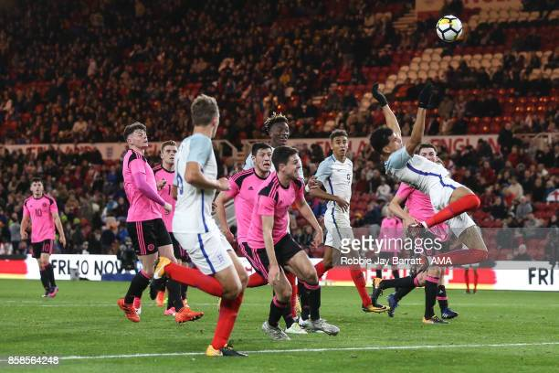 Dominic Solanke of England U21 heads towards goal during the UEFA European Under 21 Championship Qualifiers fixture between England U21 and Scotland...